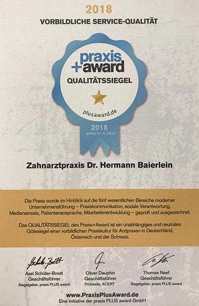 Urkunde des Praxis-Award 2018